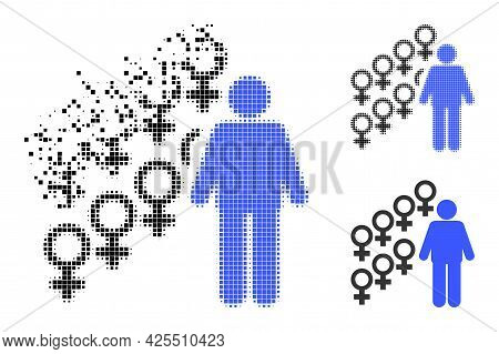 Disintegrating Pixelated Harem Symbol Icon With Halftone Version. Vector Destruction Effect For Hare