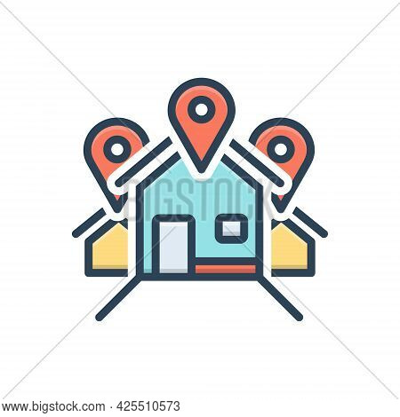 Color Illustration Icon For Address Location Locale Place Resident Inhabitant House