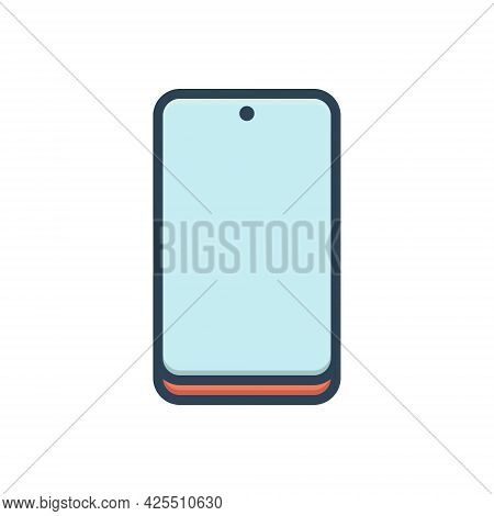Color Illustration Icon For Cellphone Technology Phone Touchscreen Gadget