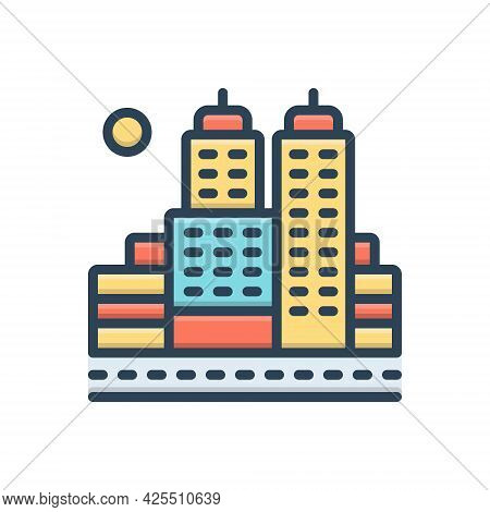 Color Illustration Icon For City Town Suburb Faubourg Building Cityscape Architecture