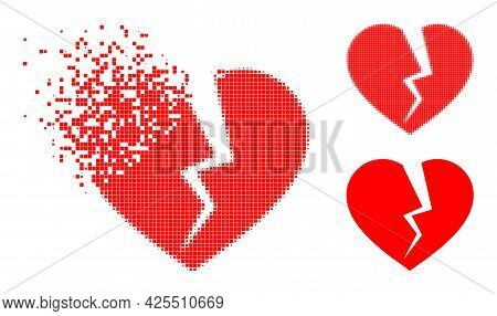 Dissipated Dotted Broken Heart Icon With Halftone Version. Vector Wind Effect For Broken Heart Icon.