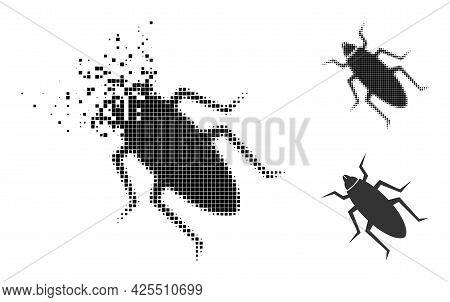 Destructed Pixelated Bug Pictogram With Halftone Version. Vector Destruction Effect For Bug Pictogra