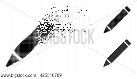 Disappearing Pixelated Pencil Icon With Halftone Version. Vector Destruction Effect For Pencil Picto