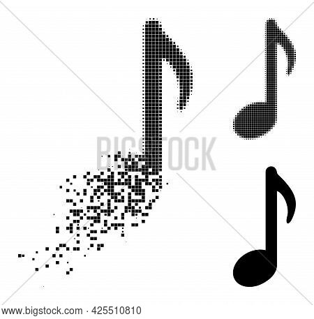 Fractured Pixelated Music Note Pictogram With Halftone Version. Vector Wind Effect For Music Note Pi