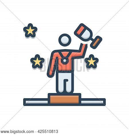 Color Illustration Icon For Winner Award Triumphant Success Champion Victorious Conquer Vanquish