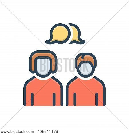 Color Illustration Icon For Talk Conversation Chitchat Discussion Chat Discourse Parley