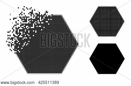 Disappearing Dot Hexagon Icon With Halftone Version. Vector Destruction Effect For Hexagon Icon. Pix