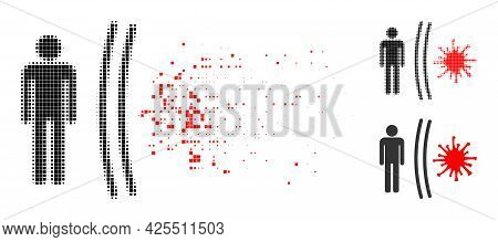 Burst Dot Virus Shield Pictogram With Halftone Version. Vector Wind Effect For Virus Shield Pictogra