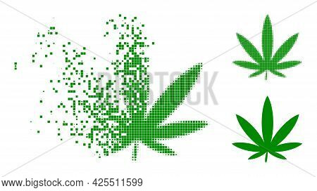 Dissolving Dotted Cannabis Pictogram With Halftone Version. Vector Destruction Effect For Cannabis P