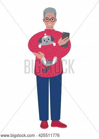 Senior Caucasian Man Holding Up A Cute Dog And A Smartphone. Pets And Mobile Devices. Flat Style Vec
