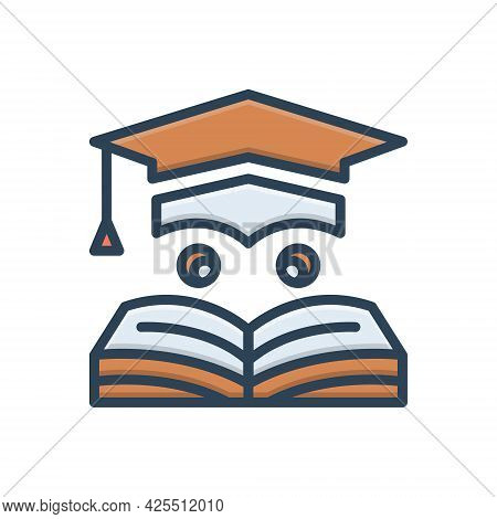 Color Illustration Icon For Education Learning Teaching Degree Graduate Cap Bachelor
