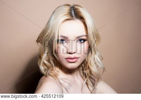 Studio Portrait Of Beautiful Elegant Woman. High Fashion Model.