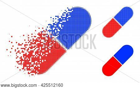 Dissolved Dot Medical Pill Pictogram With Halftone Version. Vector Destruction Effect For Medical Pi