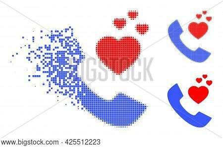 Fractured Pixelated Romantic Phone Icon With Halftone Version. Vector Wind Effect For Romantic Phone