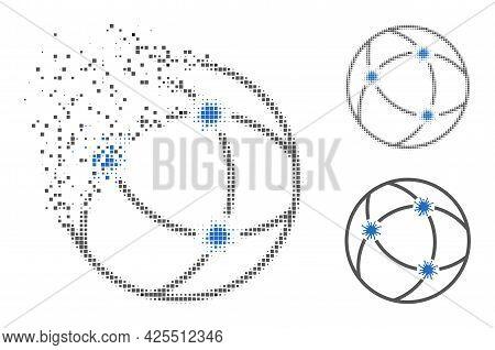 Dissolving Dot Virus Network Pictogram With Halftone Version. Vector Destruction Effect For Virus Ne