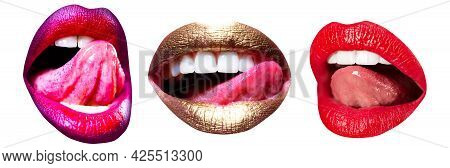 Art Lips Tonguel Lick Lips. Set Of Art Lip Close-up, Female Mouth. Red Female Lips Collection.
