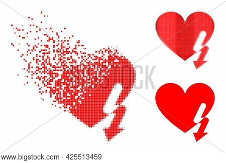 Moving Pixelated Love Heart Strike Pictogram With Halftone Version. Vector Destruction Effect For Lo