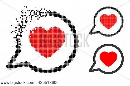 Moving Dotted Favorite Message Icon With Halftone Version. Vector Wind Effect For Favorite Message I