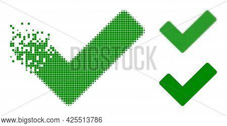 Destructed Dotted Ok Sign Pictogram With Halftone Version. Vector Destruction Effect For Ok Sign Pic