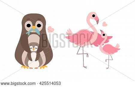 Cute Little Baby Birds And Their Moms Set, Adorable Penguin And Flamingo Families Cartoon Vector Ill