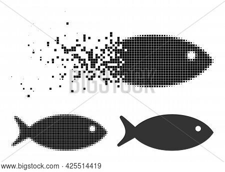 Dispersed Pixelated Fish Icon With Halftone Version. Vector Destruction Effect For Fish Icon. Pixela