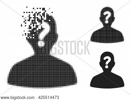 Dust Dotted Unknown Body Icon With Halftone Version. Vector Wind Effect For Unknown Body Icon. Pixel