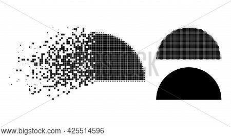 Shredded Pixelated Semisphere Glyph With Halftone Version. Vector Destruction Effect For Semisphere