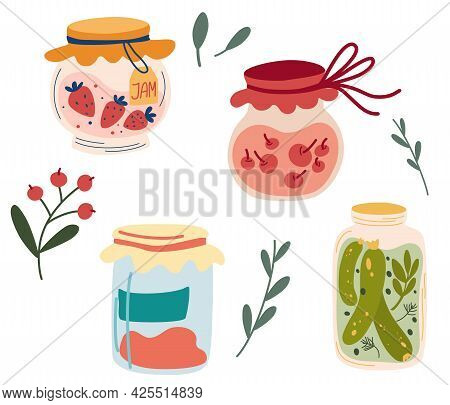 Homemade Jars Of Preserving The Fruit And Vegetables. Set Of Glass Jars With Preserved Vegetables, S