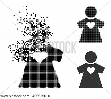 Erosion Pixelated Girlfriend Pictogram With Halftone Version. Vector Destruction Effect For Girlfrie