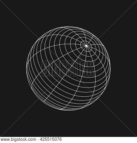 Retrofuturistic Sphere Shape. Cyberpunk Geometry Of Sphere. 3d Geometry For Poster, Cover, Merch In