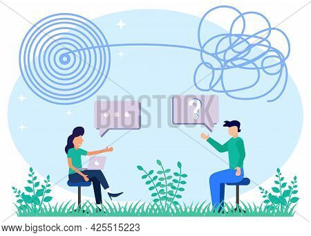 Vector Illustration Of Psychological Therapy Doctor Session With Confused And Distracted Patient Con