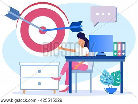 Vector Illustration Of A Business Concept Focus On Work Goals And Best Task Performance Lead To Succ