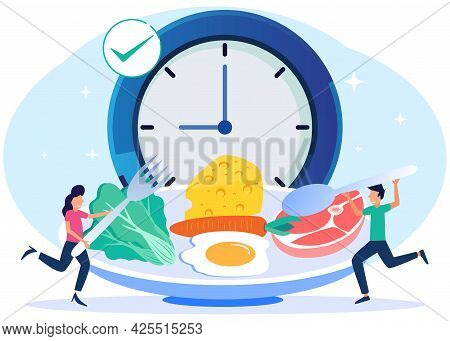 Vector Illustration Of A Meal Schedule For Balancing Daily Meals. Hunger Is A Constant Period Of Tim
