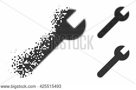 Dissolved Dot Wrench Pictogram With Halftone Version. Vector Destruction Effect For Wrench Pictogram