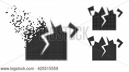 Dissipated Pixelated Destruction Pictogram With Halftone Version. Vector Wind Effect For Destruction