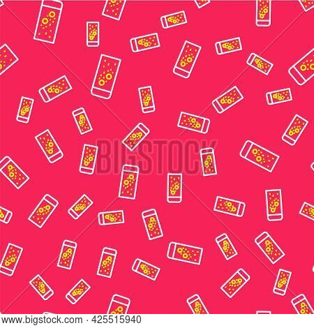 Line Effervescent Aspirin Tablets Dissolve In A Glass Of Water Icon Isolated Seamless Pattern On Red