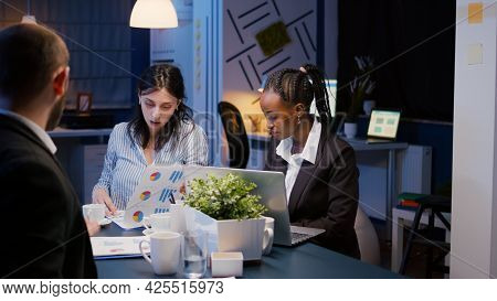 Multi-ethnic Diverse Businesspeople Brainstorming Company Ideas Working At Management Presentation I