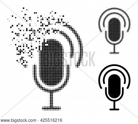 Dissipated Pixelated Podcast Pictogram With Halftone Version. Vector Destruction Effect For Podcast