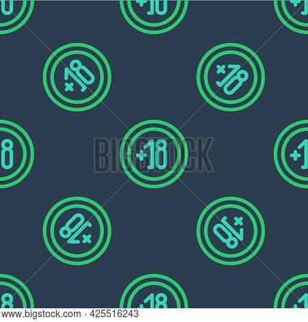 Line Alcohol 18 Plus Icon Isolated Seamless Pattern On Blue Background. Prohibiting Alcohol Beverage