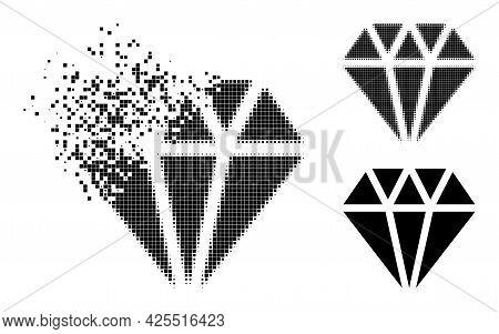 Burst Pixelated Adamant Crystal Pictogram With Halftone Version. Vector Destruction Effect For Adama