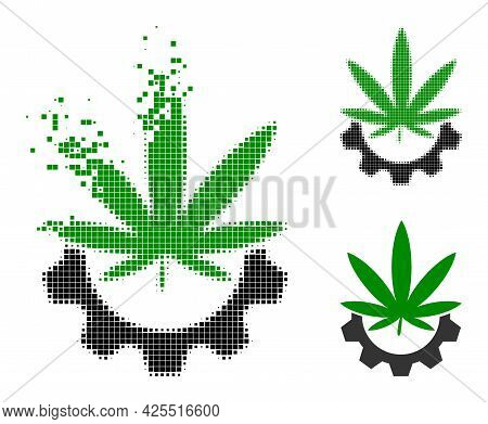Disintegrating Pixelated Cannabis Industry Glyph With Halftone Version. Vector Wind Effect For Canna