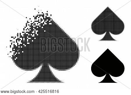 Dispersed Pixelated Playing Card Spade Suit Pictogram With Halftone Version. Vector Wind Effect For