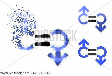 Dissolved Pixelated Gay Relation Symbol Glyph With Halftone Version. Vector Wind Effect For Gay Rela