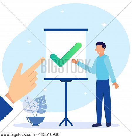 A Positive Business Man Point To The Direction Marked With A Checklist On Chalkboard Paper. Successf
