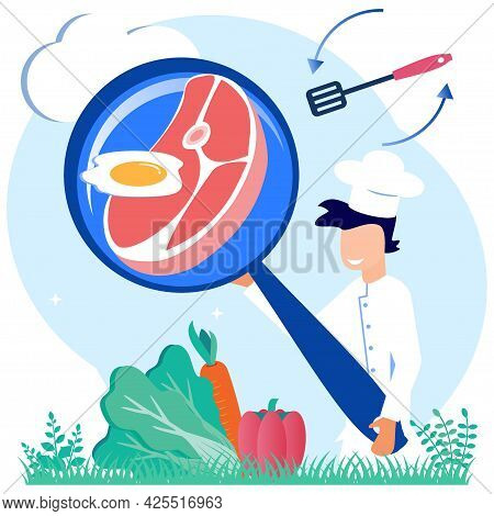 Flat Style Vector Illustration. Culinary Concept Of A Professional Chef In Restaurant Uniform Cookin