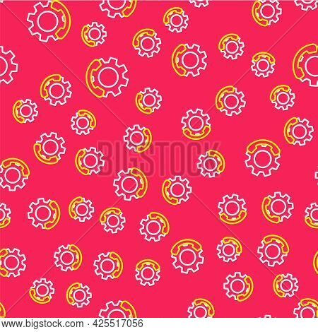 Line Telephone 24 Hours Support Icon Isolated Seamless Pattern On Red Background. All-day Customer S