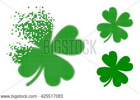 Dissolved Pixelated Lucky Clover Leaf Glyph With Halftone Version. Vector Wind Effect For Lucky Clov
