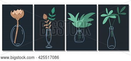 Set Of Minimalist Plant Leaves In Glass Vase Posters In Cartoon Style. Modern Branches And Plants Fo