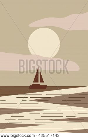 Minimalist Seascape With Boat At The Sunset. Abstract Modern Vector Illustration For Wall Decot, T S