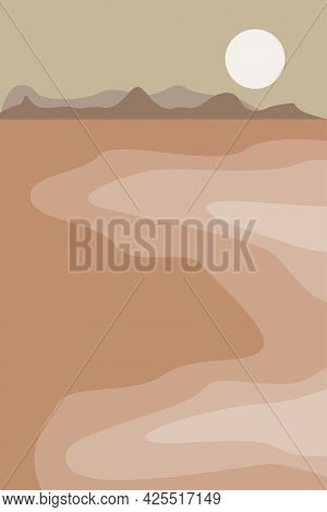 Minimalist Seascape With Mountains At The Sunset. Abstract Modern Vector Illustration For Wall Decor